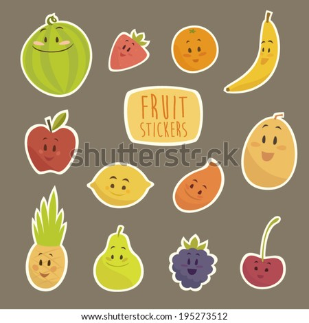funny cartoon fruits vector