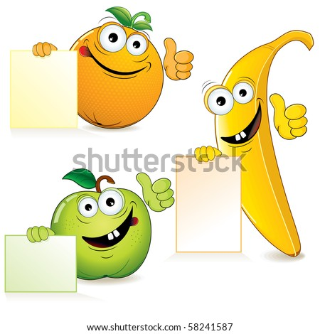 Funny cartoon fruits with blank sign-vector illustration