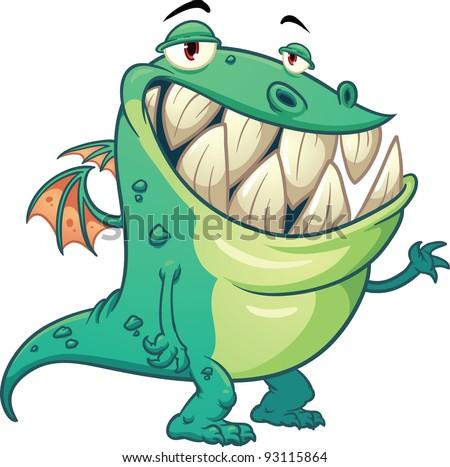 funny cartoon green dragon