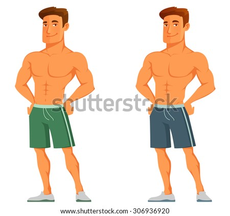 funny cartoon guy flaunting his muscles