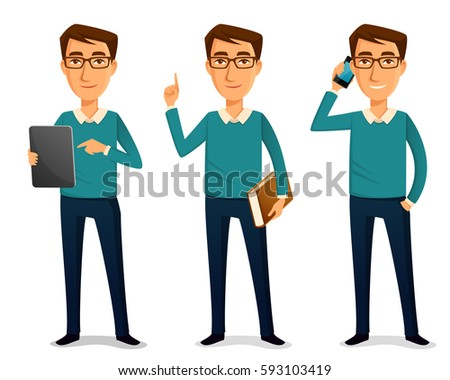 funny cartoon guy in casual clothes, holding tablet, book or mobile phone