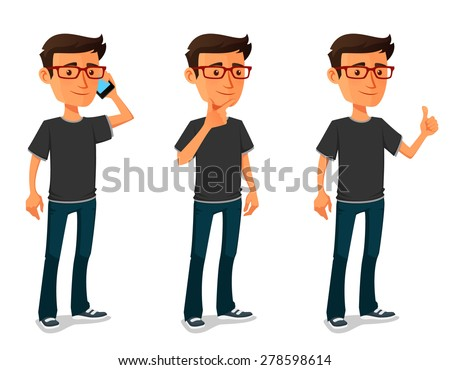 funny cartoon guy in various poses
