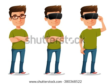 funny cartoon guy using virtual
