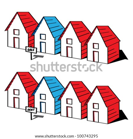 Funny cartoon houses in a row, sale and rent concept, real estate collection, vector illustration