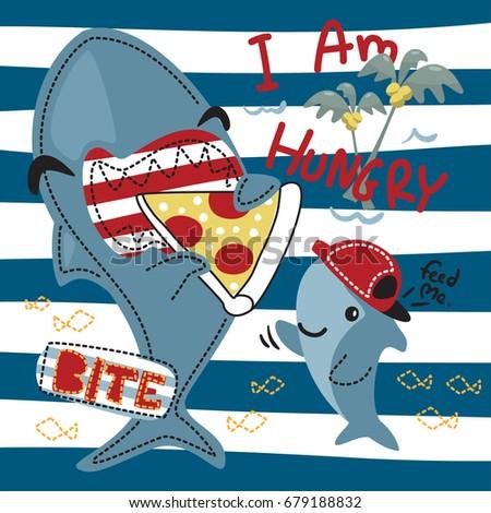 funny cartoon hungry shark