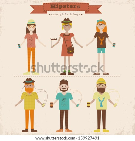 Stock Photo Funny cartoon illustration of young people with hipster fashion style. Hipster girls and boys set