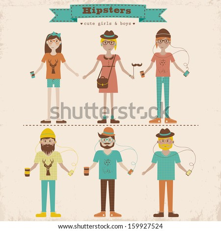 Funny cartoon illustration of young people with hipster fashion style Hipster girls and boys set