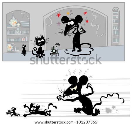 Funny cartoon illustrations of a Big Mouse in laboratory. The background is isolated.