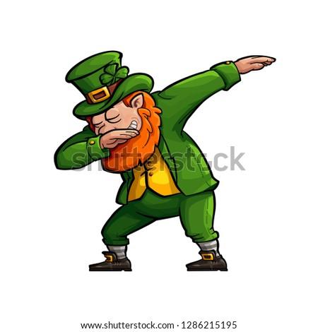 Funny Cartoon Leprechaun Doing the Famous Dab Move.