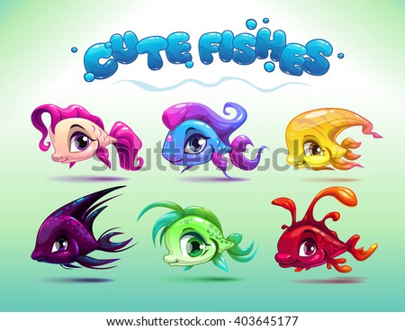 funny cartoon little fishes set