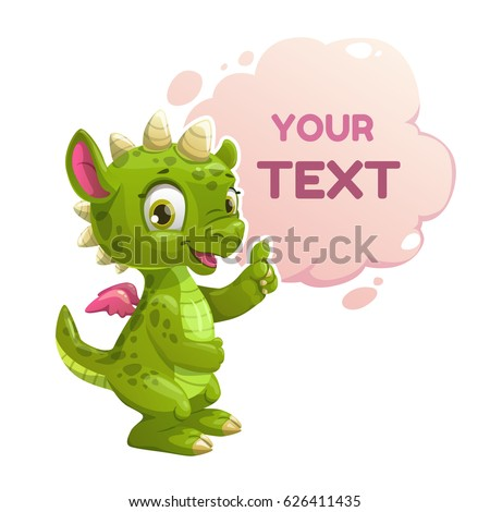 Funny cartoon little green dragon with speech cloud. Cute childish banner.