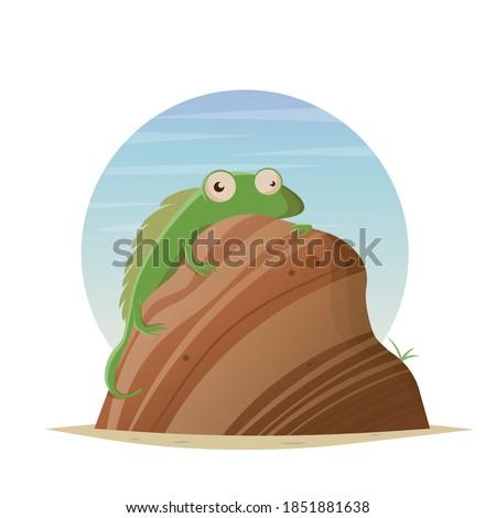 funny cartoon lizard sitting on