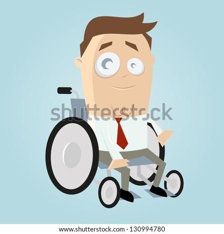 Funny cartoon man in wheelchair