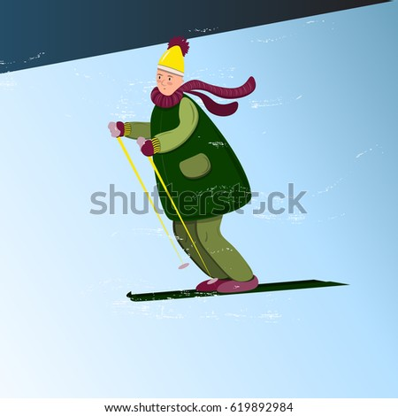Funny cartoon man in winter clothes skiing down the hill. Vector illustration