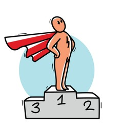 Funny cartoon man standing confident on a pedestal with coat like a superhero vector flat style illustration isolated, cute and positive small guy drawing or icon.