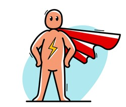 Funny cartoon man standing confident with coat like a superhero vector flat style illustration isolated on white, cute and positive small guy drawing or icon.