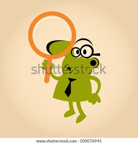 funny cartoon man with magnifying glass