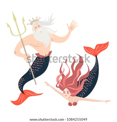 funny cartoon mermaid and