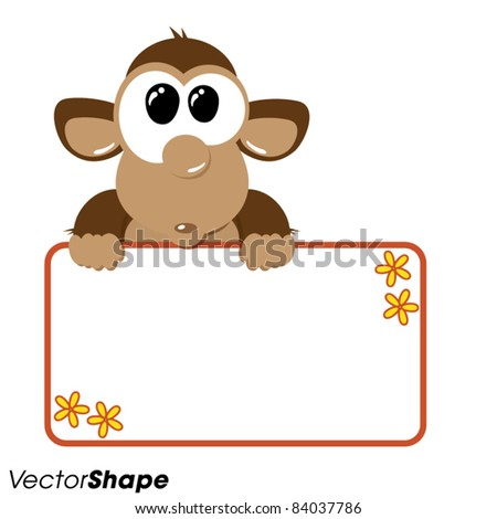 Funny cartoon monkey holding an empty banner, vector illustration ...