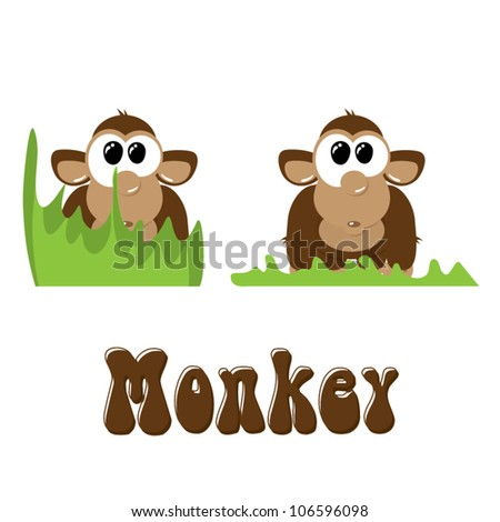 Funny cartoon monkey in the grass, vector illustration - stock vector