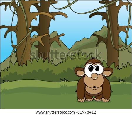 Funny cartoon monkey in the wild jungle, vector illustration - stock ...