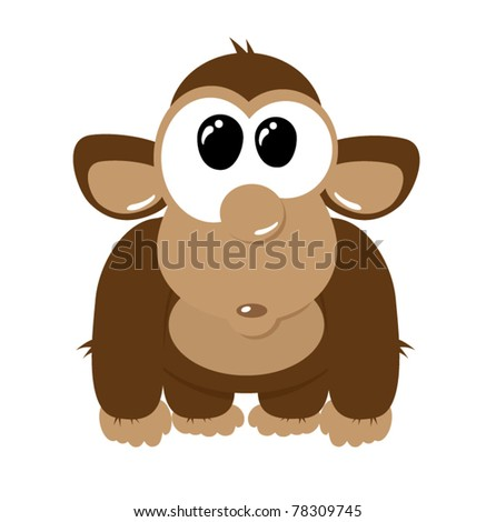 Funny cartoon monkey on the white background, vector illustration ...