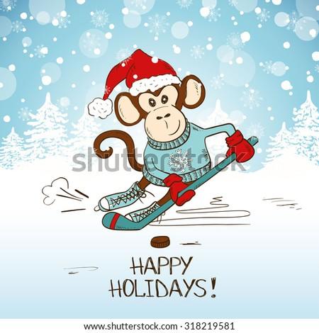 funny cartoon monkey playing