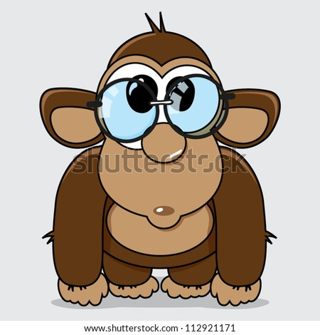 Funny cartoon monkey with reading glasses, education concept, vector illustration - stock vector