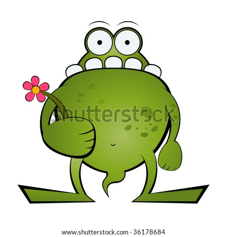 funny cartoon monster - stock vector