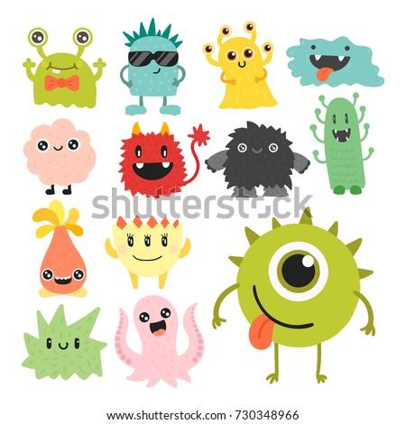 funny cartoon monster cute