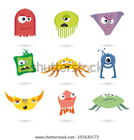 funny cartoon monster set