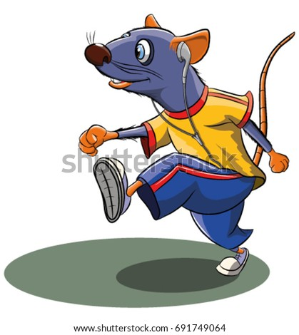 Stock Photo Funny cartoon mouse doing sports, vector illustration
