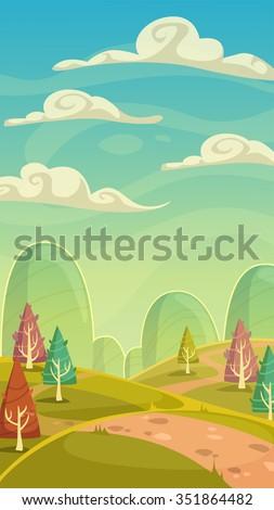 funny cartoon nature landscape