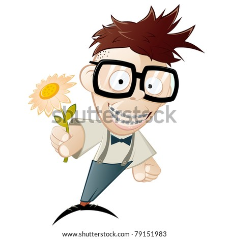 funny cartoon nerd with flower