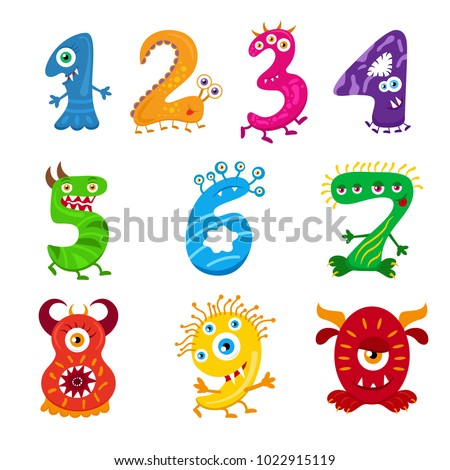 funny cartoon numbers monster