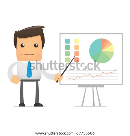 funny cartoon office worker for use in presentations, etc. - stock vector