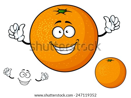 funny cartoon orange fruit