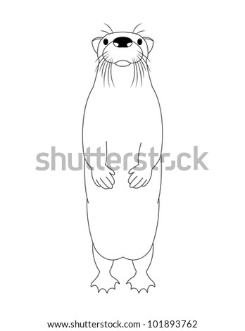 Funny cartoon otter, vector illustration