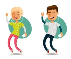 funny cartoon people dancing to the music from their cell phone