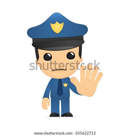 funny cartoon policeman in