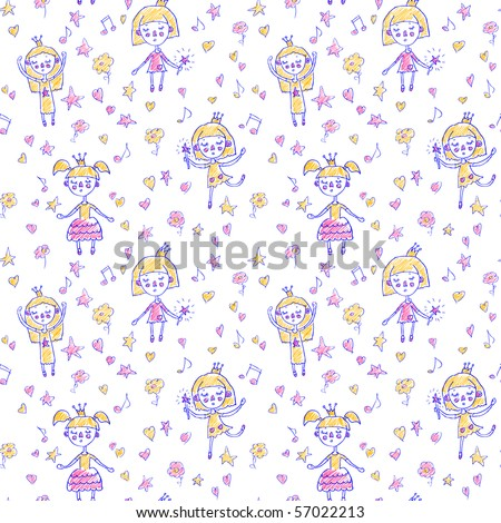 Funny cartoon princess seamless pattern