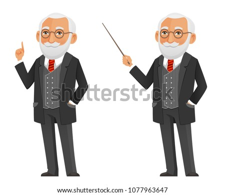 funny cartoon professor or scientist in a elegant black suit, holding a pointer