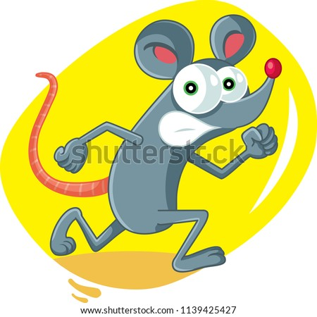 Funny Cartoon Rat Running Scared. Terrified mouse character getting away from pest control services