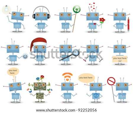 funny cartoon robot set