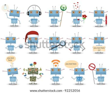 funny cartoon robot set