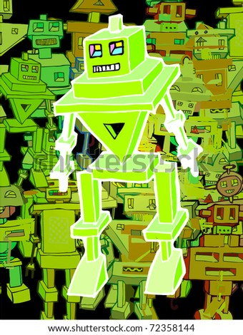 Funny Cartoon Robot (vector)