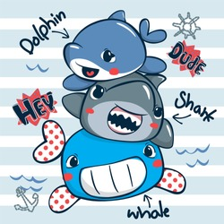 Funny cartoon sea animals with whale, shark and dolphin on striped background illustration vector.