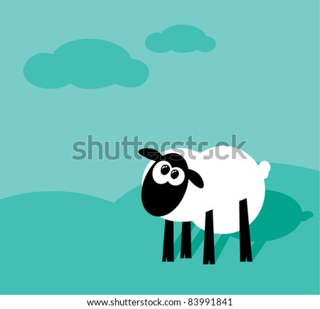 Funny cartoon sheep staring on a field with clouds, vector illustration