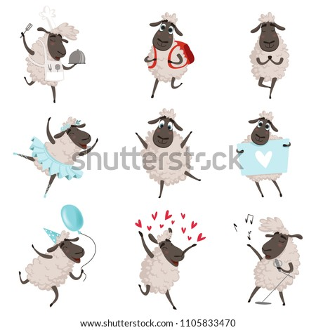 funny cartoon sheeps in various ...
