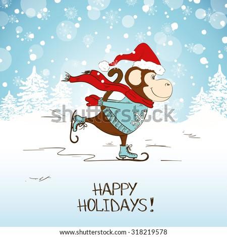 funny cartoon skating monkey